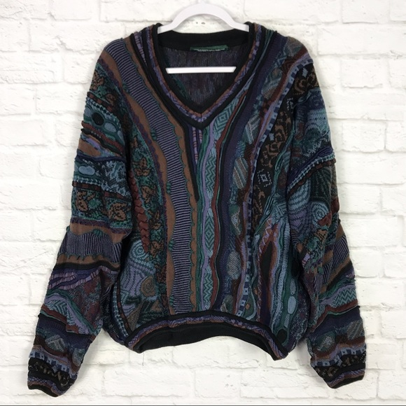 Tundra Other - Tundra Jewel Tone 3D Knit Cotton VNeck Sweater XL